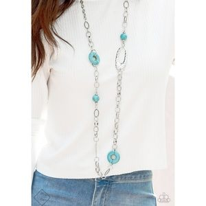 Turquoise Blue and Silver Long Necklace Set